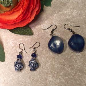 Bundle 2 pairs of earrings ceramic fish blue resin